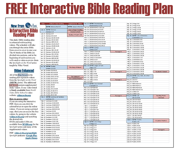 WVBS Bible Reading Plan